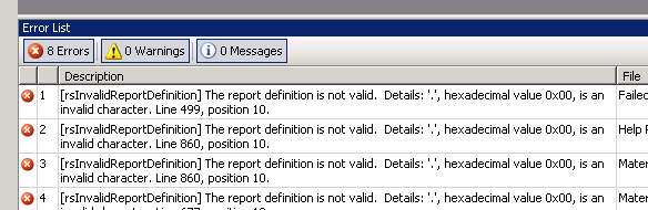 SSRS the report definition is not valid hexadecimal value