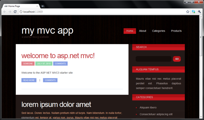 mvc3 starter app screenshot