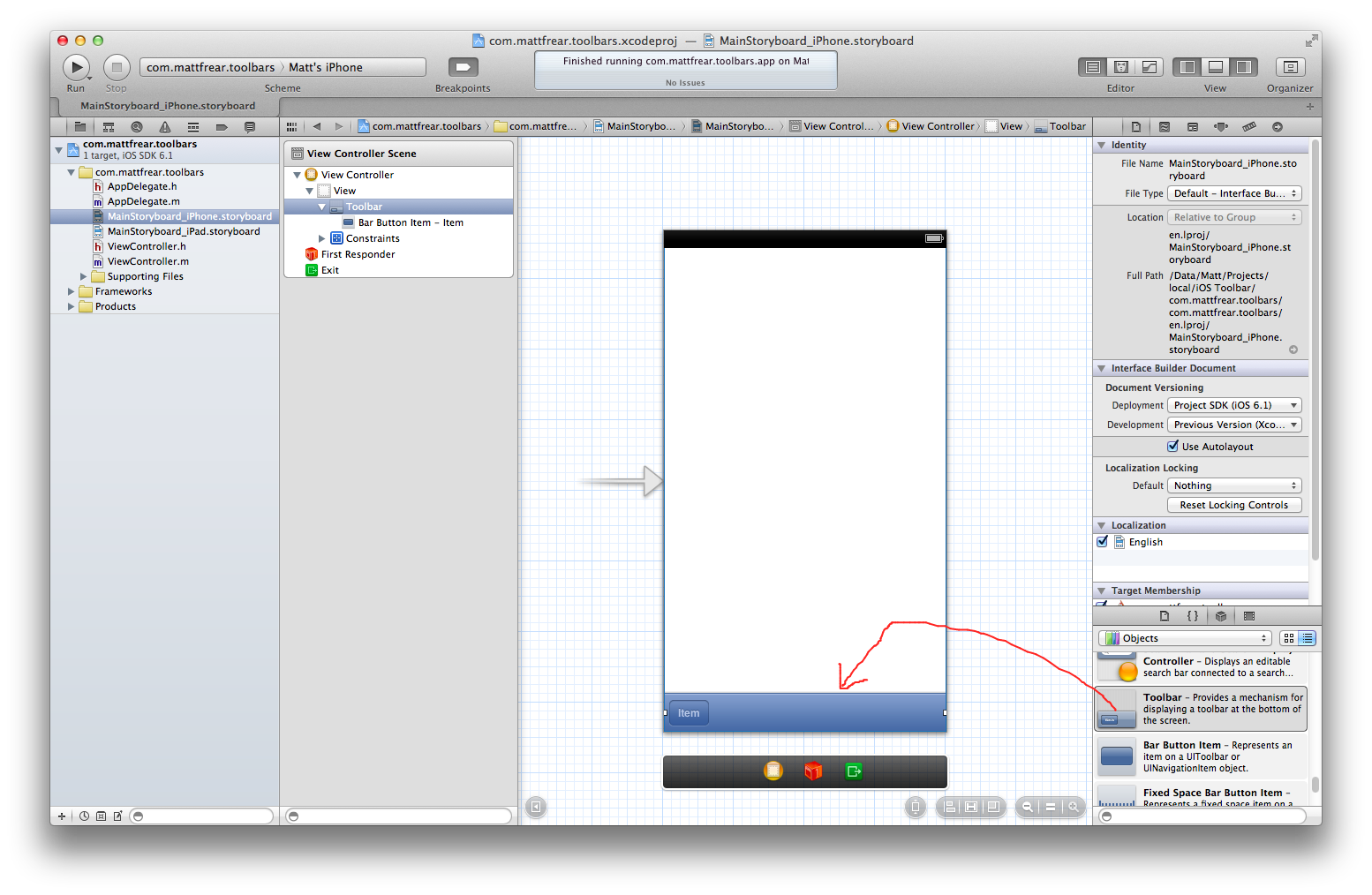 Beginner's guide to add a toolbar to an iOS iPhone app with a