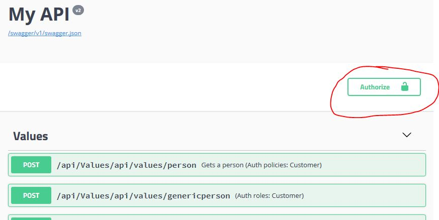 Add an authorization header to your swagger-ui with